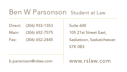 Ben W Parsonson, Student at Law's vCard