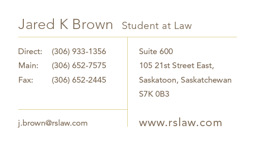 Jared K Brown, Student at Law's vCard
